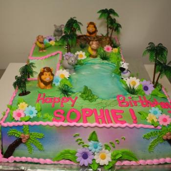 FIRST BDAY Jungle Theme Cake