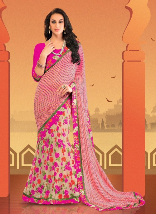 floral saree - 8 Cool Outfit Ideas for Newly Married Brides!