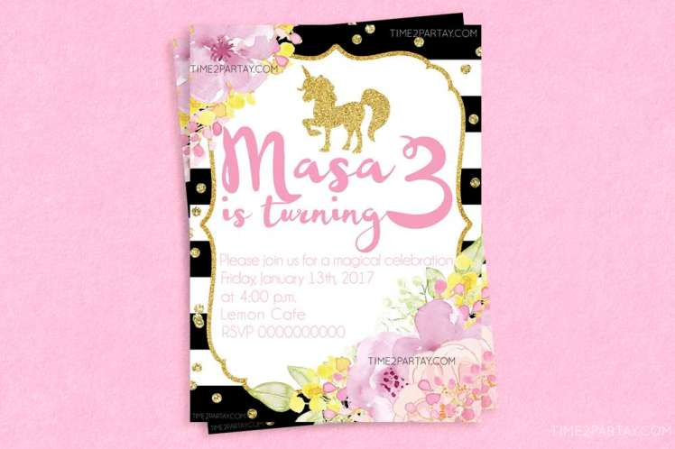 Unicorn Theme Birthday Party Invitation
