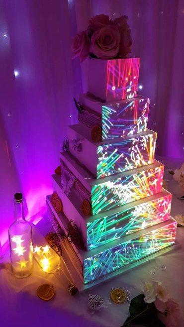 Video Projection Cake Wedding Lights