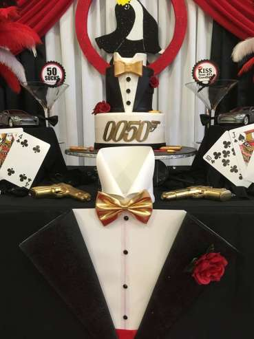 James Bond Theme Birthday Party Cake