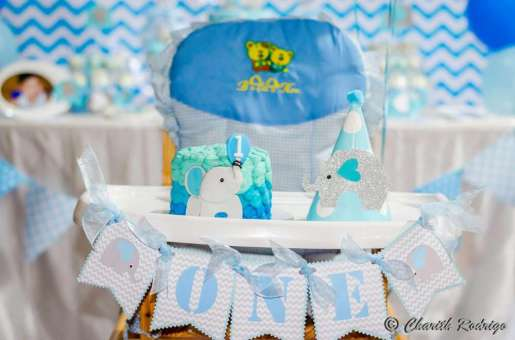 Blue Elephant Theme Birthday Party Decoration 3