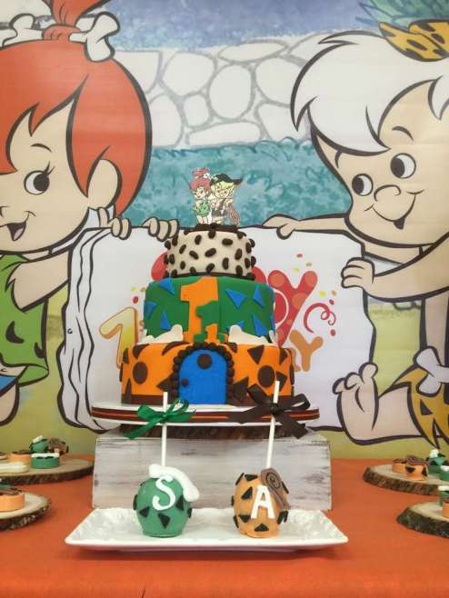 Flintstones Pebbles and Bamm Bamm Theme Party Cake 2