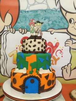 Flintstones Pebbles and Bamm Bamm Theme Party Cake 3