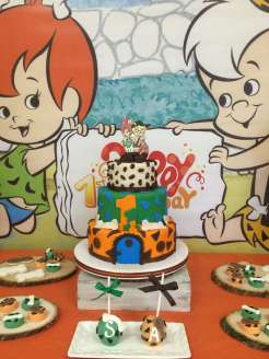 Flintstones Pebbles and Bamm Bamm Theme Party Cake