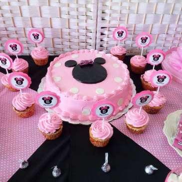 Pink Minnie Theme Birthday Party Cake