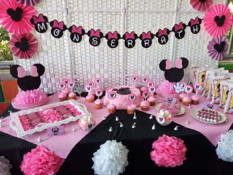 Pink Minnie Theme Birthday Party Decoration 2