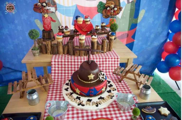 Cowboy Theme Birthday Party Cake
