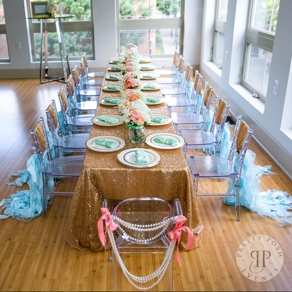 Sequins and Pearls Theme Birthday Party Table Decoration