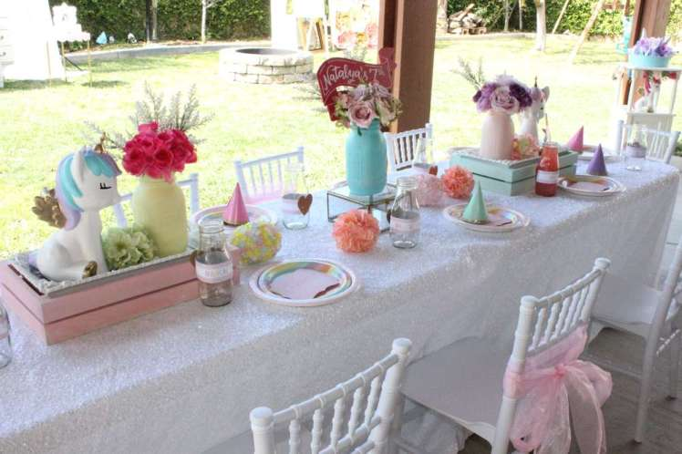 Unicorn Theme Birthday Party Kids Table Decoration 3