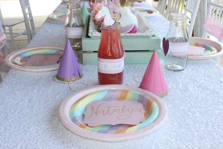 Unicorn Theme Birthday Party Kids Table Decoration