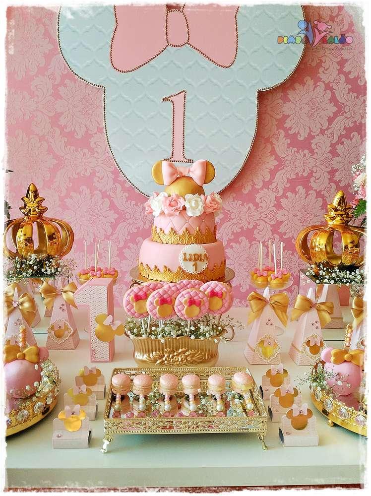 Gold Princess Theme Birthday Party Cake