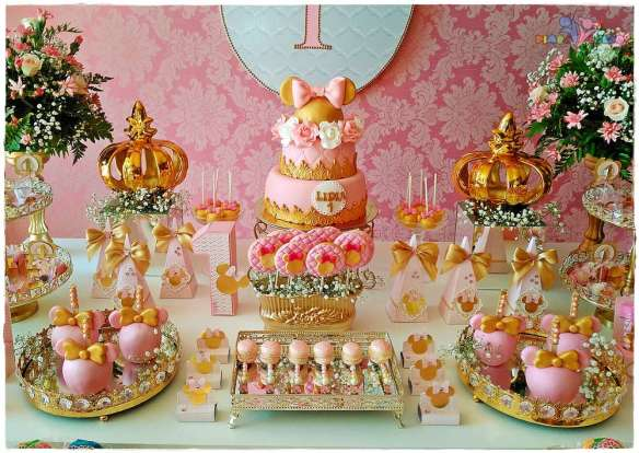 Pink And Gold Minnie Mouse Theme Birthday Party Decoration Ideas