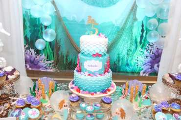 Little Mermaid Theme Birthday Party Cake 1