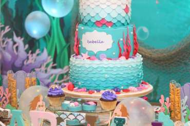 Little Mermaid Theme Birthday Party Cake 2