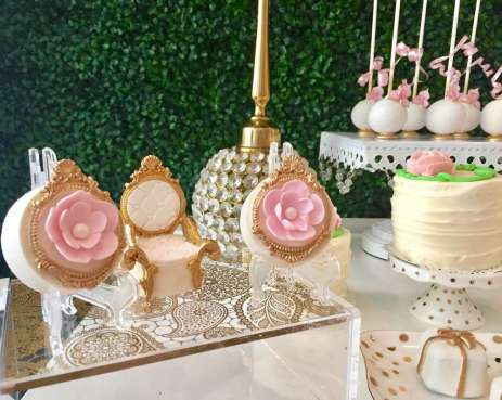 Pretty Posh Gold Theme Cocktail Party Dessert Table 4