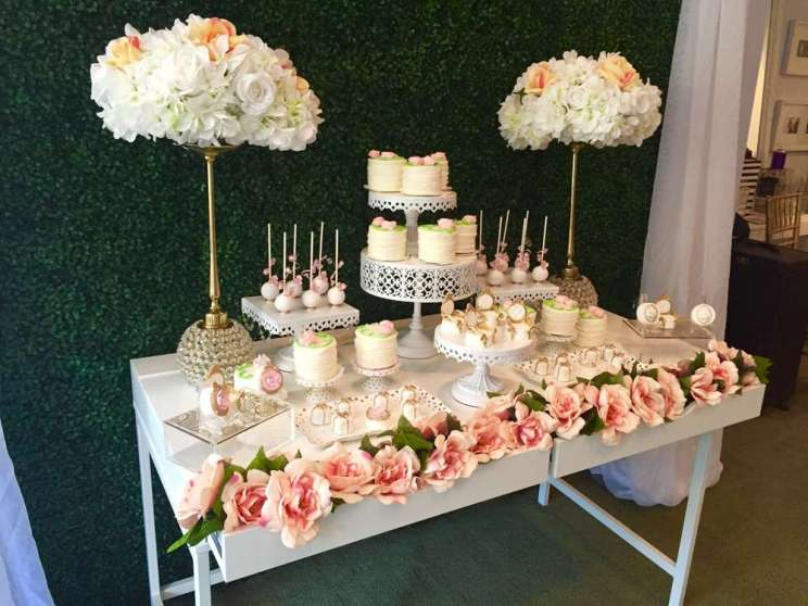 Pretty Posh Gold Theme Cocktail Party Dessert Table