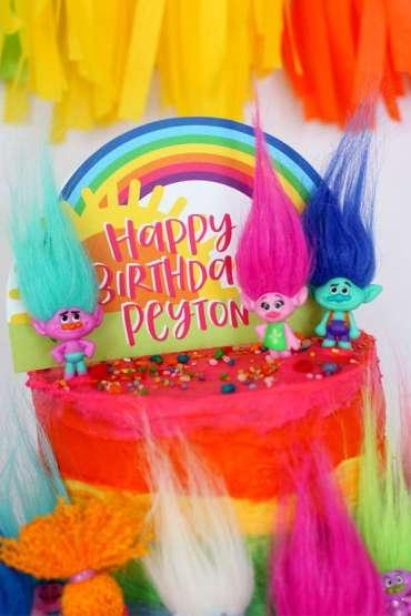 Trolls Theme Birthday Party Cake 1