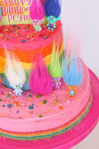 Trolls Theme Birthday Party Cake 2