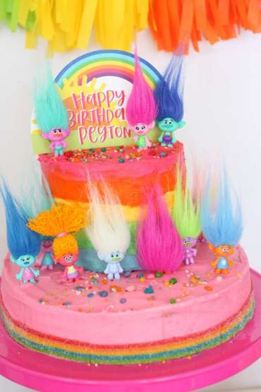 Trolls Theme Birthday Party Cake 3