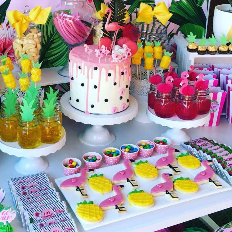 Tropical Theme Birthday Party Dessert Table