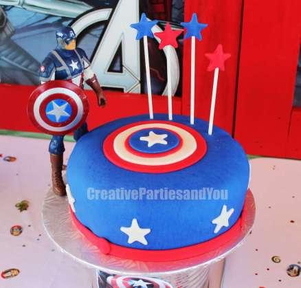Avengers Theme Birthday Party Captain America Cake 1