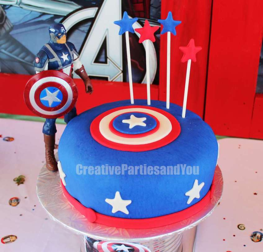 Remarkable Avengers Theme Birthday Party Captain America Cake 1 Venuemonk Blog Funny Birthday Cards Online Elaedamsfinfo