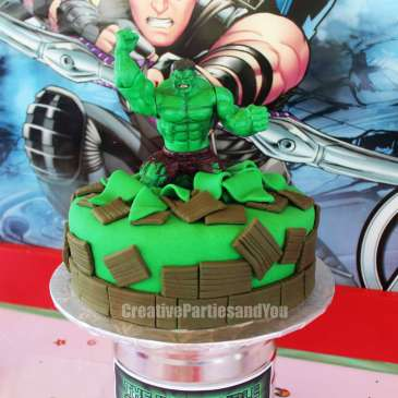 Avengers Theme Birthday Party Hulk Cake 2