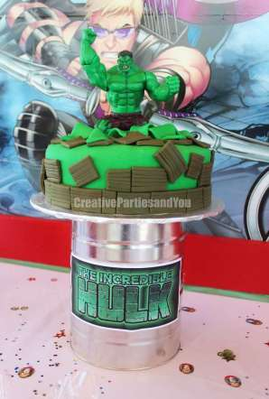 Avengers Theme Birthday Party Hulk Cake 5