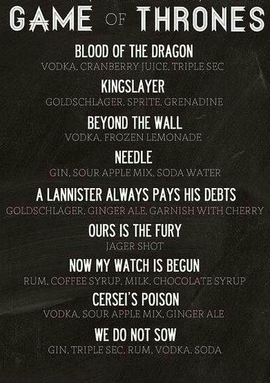 Game Of Thrones Theme Cocktail Party-Drinks Menu