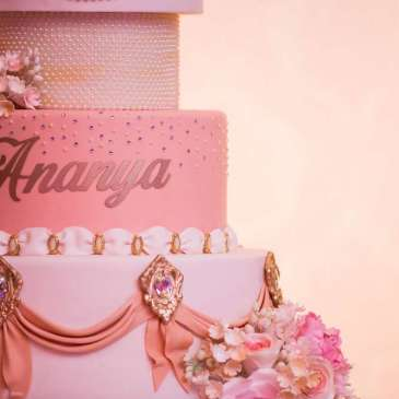 Lace and Pearls Theme First Birthday Party Cake 5