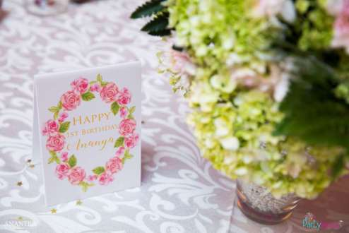 Lace and Pearls Theme First Birthday Party Decoration 9