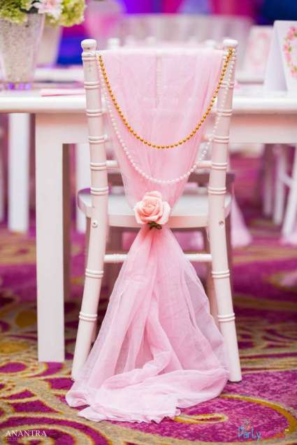 Lace and Pearls Theme First Birthday Party Kids Table 4