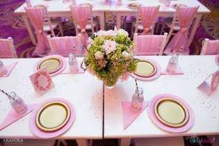 Lace and Pearls Theme First Birthday Party Kids Table