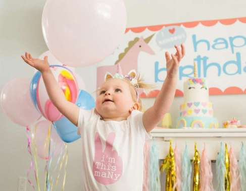 Rainbow and Unicorn Theme Birthday Party Birthday Girl 2