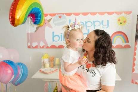 Rainbow and Unicorn Theme Birthday Party Birthday Girl 3