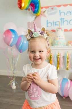 Rainbow and Unicorn Theme Birthday Party Birthday Girl 4