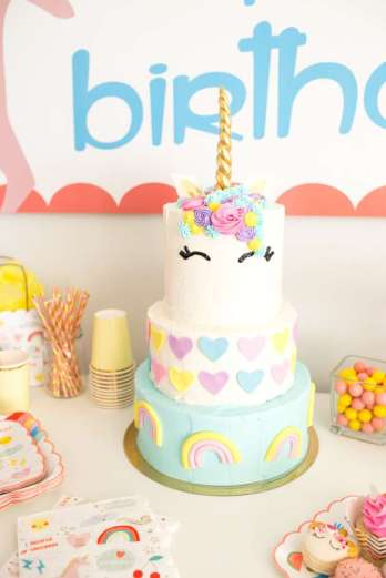 Rainbow and Unicorn Theme Birthday Party Cake 2