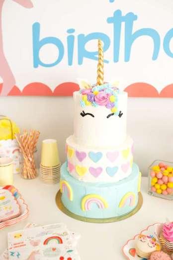 Rainbow and Unicorn Theme Birthday Party Cake 2