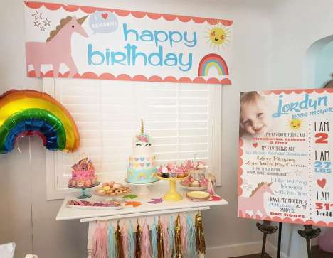 Rainbow and Unicorn Theme Birthday Party Decoration