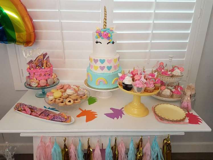 Rainbow and Unicorn Theme Birthday Party Dessert Table