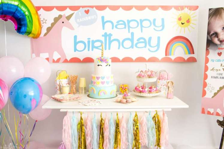 Rainbow and Unicorn Theme Birthday Party
