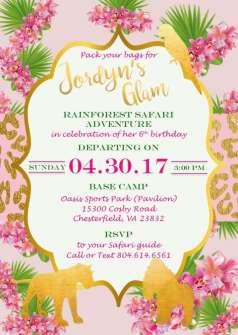 Rainforest Theme Birthday Party Invitation 2