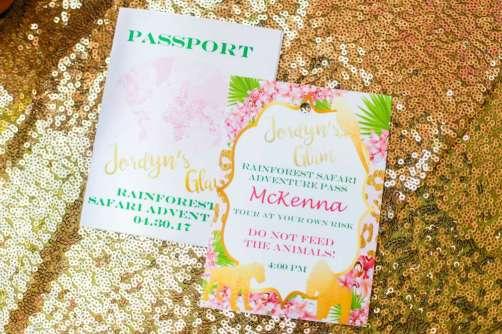 Rainforest Theme Birthday Party Invitations